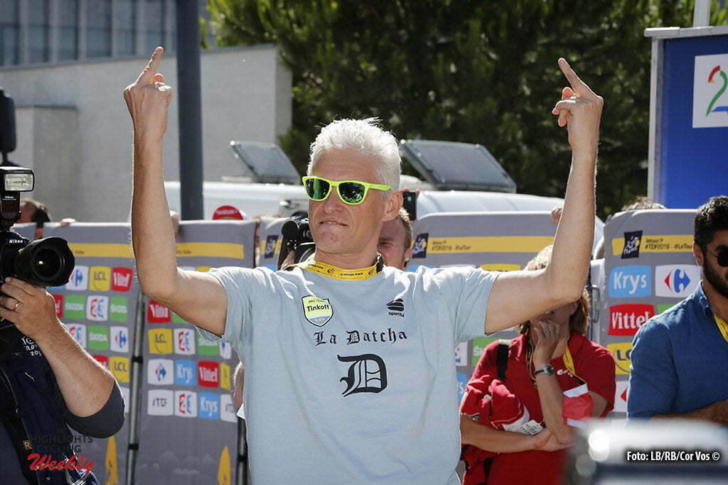 Montpellier - France - wielrennen - cycling - radsport - cyclisme - Oleg Tinkov two middelvingers! pictured during stage 11 of the 2016 Tour de France from Carcassonne to Montpellier, 164.00 km - photo Dion Kerckhoffs/Tim van Wichelen/Cor Vos © 2016