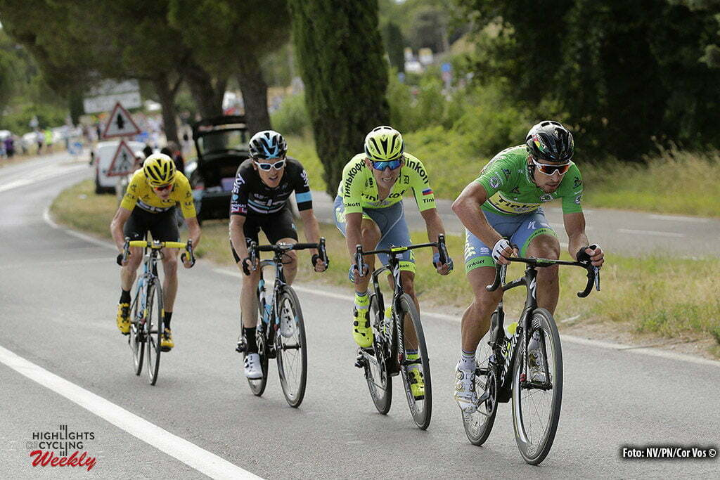 Montpellier - France - wielrennen - cycling - radsport - cyclisme - Peter Sagan (SLK-Tinkoff) - Chris Froome (GBR-Team Sky) - Geraint Thomas (GBR-Team Sky) - Maciej Bodnar (POL-Tinkoff) pictured during stage 11 of the 2016 Tour de France from Carcassonne to Montpellier, 164.00 km - photo NV/PN/Cor Vos © 2016