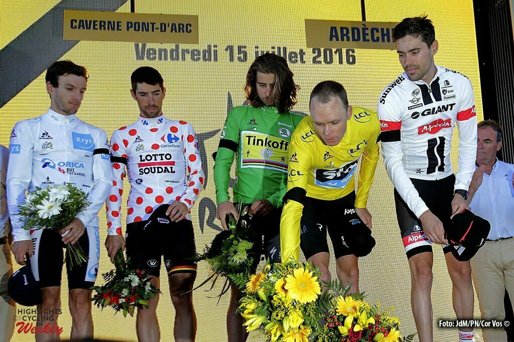 La Caverne du Pont-d'Arc - France - wielrennen - cycling - radsport - cyclisme - Adam Yates (GBR-Orica-BikeExchange) - Thomas de Gendt (BEL-Lotto-Soudal) - Peter Sagan (SLK-Tinkoff) - Chris Froome (GBR-Team Sky) - Tom Dumoulin (NED-Giant-Alpecin) pictured during stage 13 of the 2016 Tour de France from Bourg-Saint-Andéol - La Caverne du Pont-d'Arc - ITT, Time Trial Individual - 37.00 km- photo JdM/PN/Cor Vos © 2016