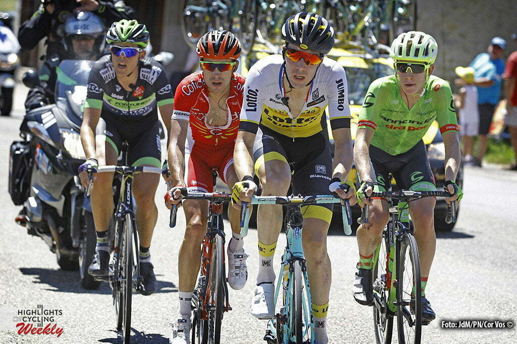 Bern - Suisse - wielrennen - cycling - radsport - cyclisme - Lawson Craddock (USA-Cannondale) - Timo Roosen (NED-LottoNL-Jumbo) - Nicolas Edet (FRA-Cofidis) - Vegard Breen (NOR-Fortuneo-Vital Concept) pictured during stage 16 of the 2016 Tour de France from Moirans-en-Montagne to Bern, Switserland - 206.00 km - photo JdM/PN/Cor Vos © 2016