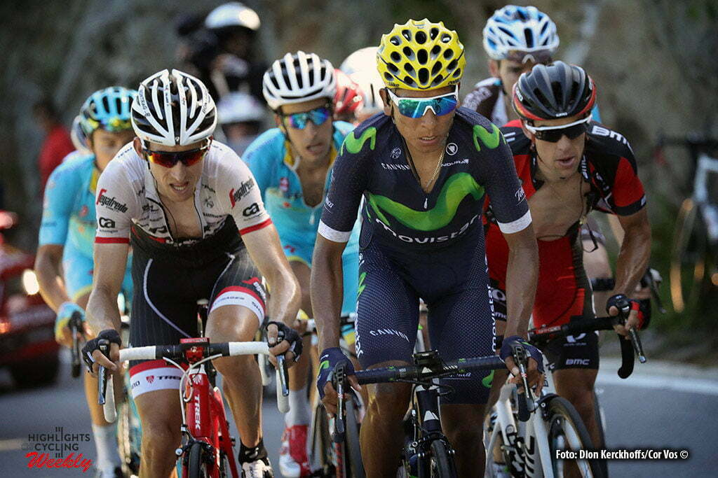 Finhaut-Emosson - Suisse - wielrennen - cycling - radsport - cyclisme - Nairo Quintana (COL-Movistar) - Bauke Mollema (NED-Trek Segafredo) - Fabio Aru (ITA-Astana) 0 Richie Porte (AUS-BMC Racing Team) pictured during stage 17 of the 2016 Tour de France from Bern to Finhaut-Emosson, 184.00 km - photo poolphoto/Cor Vos © 2016