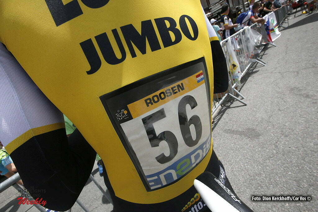 Megeve - France - wielrennen - cycling - radsport - cyclisme - aerodynamci cover bib - back number of Timo Roosen (NED-LottoNL-Jumbo) pictured during stage 18 of the 2016 Tour de France from Sallanches to Megeve ITT, 17.00 km - photo Dion Kerkhoffs/Davy Rietbergen/Cor Vos © 2016