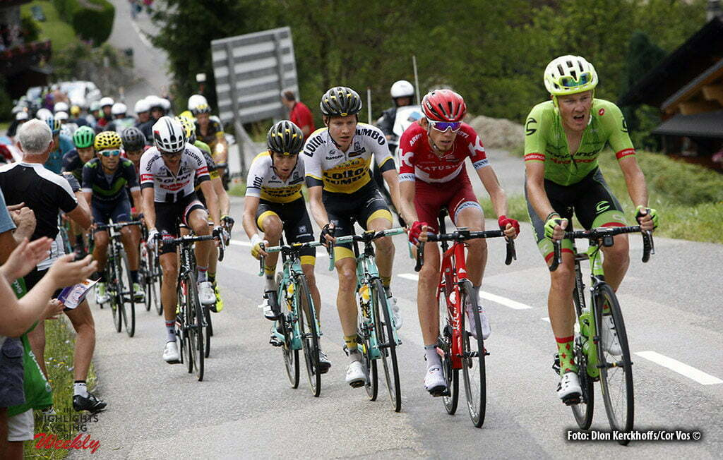 Morzine - France - wielrennen - cycling - radsport - cyclisme - Dylan van Baarle (NED-Cannondale) - Ilnur Zakarin (RUS-Katusha) - Wilco Kelderman (NED-LottoNL-Jumbo) - George Bennet (NZL-LottoNL-Jumbo) - Warren Barguil (FRA-Giant-Alpecin) pictured during stage 20 of the 2016 Tour de France from Megeve to Morzine, 146.00 km - photo Dion Kerkhoffs/Davy Rietbergen/Cor Vos © 2016