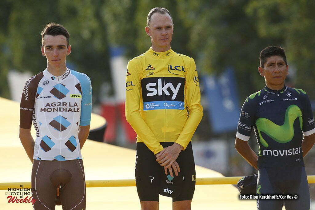 Paris - France - wielrennen - cycling - radsport - cyclisme - Romain Bardet (FRA-AG2R-La Mondiale) - Christopher Froome (GBR-Team Sky) - Nairo Quintana (COL-Movistar) pictured during stage 21 of the 2016 Tour de France from Chantilly to Paris, 113.00 km - photo Dion Kerckhoffs//Davy Rietbergen/Cor Vos © 2016