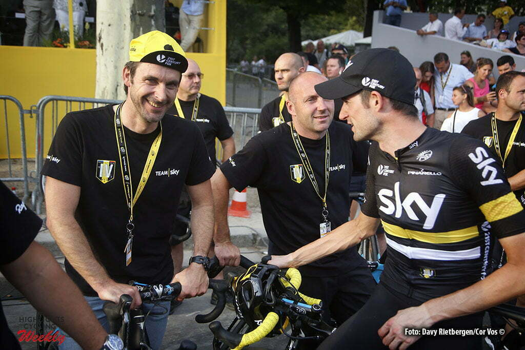 Paris - France - wielrennen - cycling - radsport - cyclisme - Servais Knaven (Netherlands / Sportdirector Team Sky) -Wout Poels (NED-Team Sky) pictured during stage 21 of the 2016 Tour de France from Chantilly to Paris, 113.00 km - photo Davy Rietbergen//Dion Kerkhoffs/Cor Vos © 2016