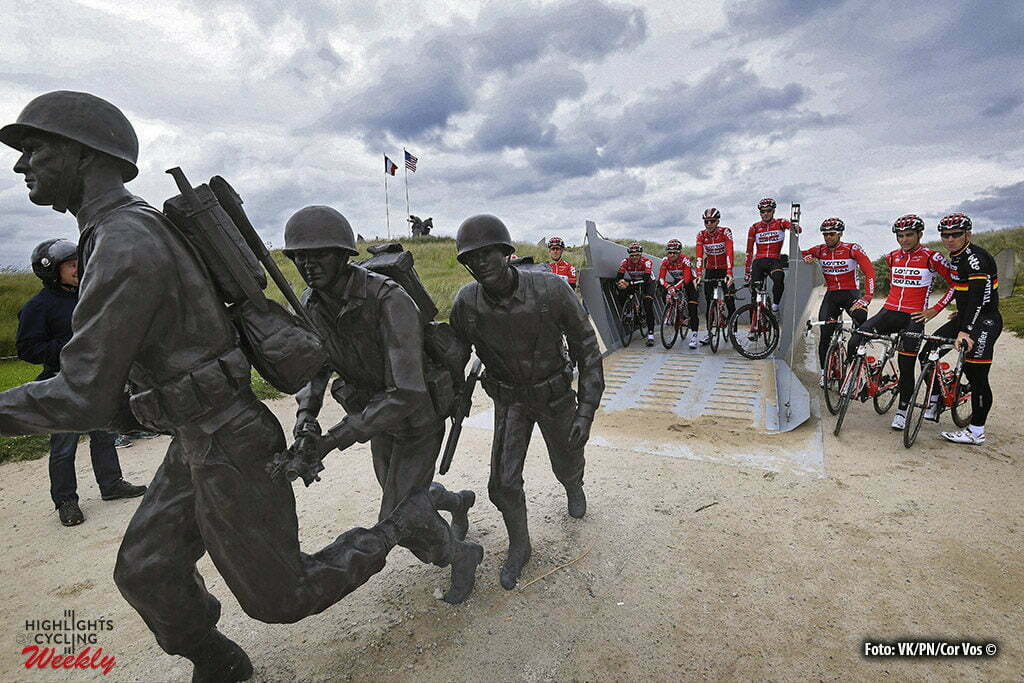 Utah Beach - France - wielrennen - cycling - radsport - Team Lotto Soudal pictured during a team reconnaissance of the stage 1 of the 2016 Tour de France a 188 km stage between Mont-Saint-Michel and Utah Beach Sainte-Marie-Du-Mont, on June 29, 2016 in Utah Beach, France , Photo VK/PN/Cor Vos ©