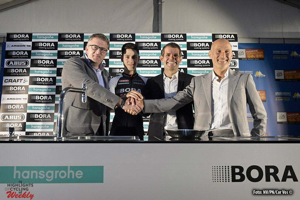 Utah Beach - France - wielrennen - cycling - radsport - cyclisme - Philippe Harinck, Hansgrohe, Buchmann Emanuel, rider of (Germany / Bora Argon 18), Ralph Denk of Bora and Willi Bruckbauer of Bora announcing the new 2017 team Bora - Hansgrohe during a press conference prior the 2016 Tour de France, on June 30, 2016 in Saint-Lo, France - photo NV/PN/Cor Vos © 2016