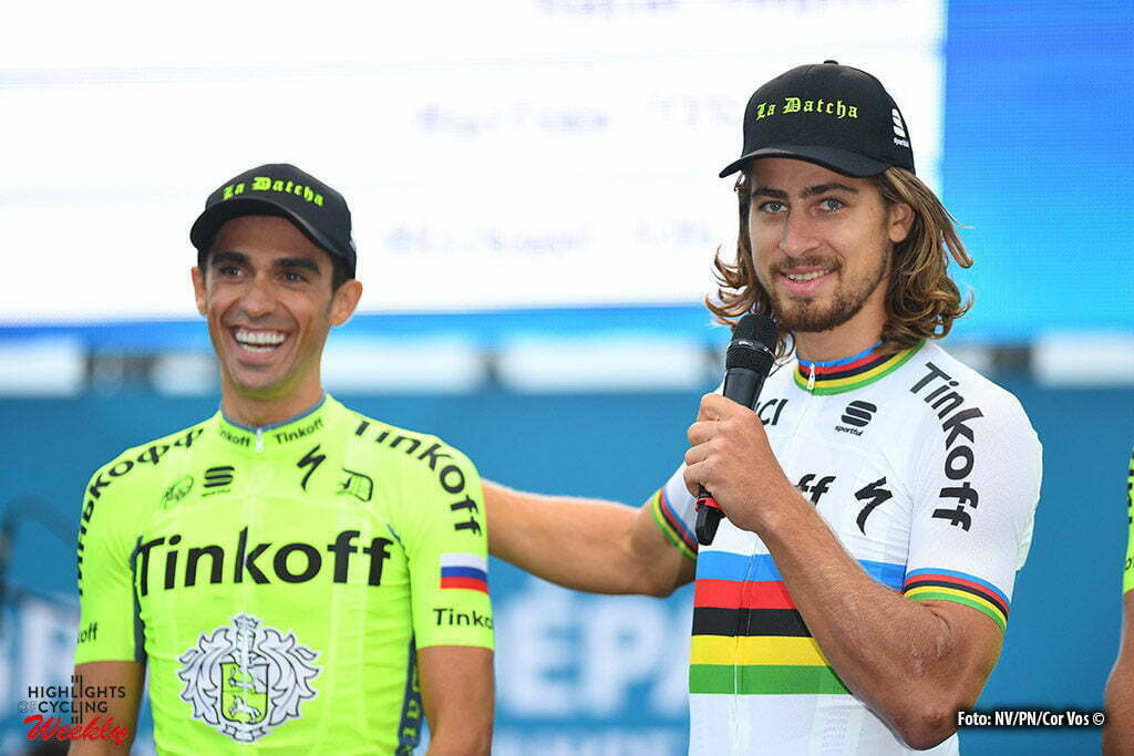 Saint-Mere-Eglise - France - wielrennen - cycling - radsport - cyclisme - Alberto Contador Velasco (Spain / Team Tinkoff - Tinkov) - Peter Sagan (Slowakia / Team Tinkoff - Tinkov) pictured during the official team presentation prior the 2016 Tour de France, on June 30, 2016 in Saint-Mere-Eglise - France - photo NV/PN/Cor Vos © 2016