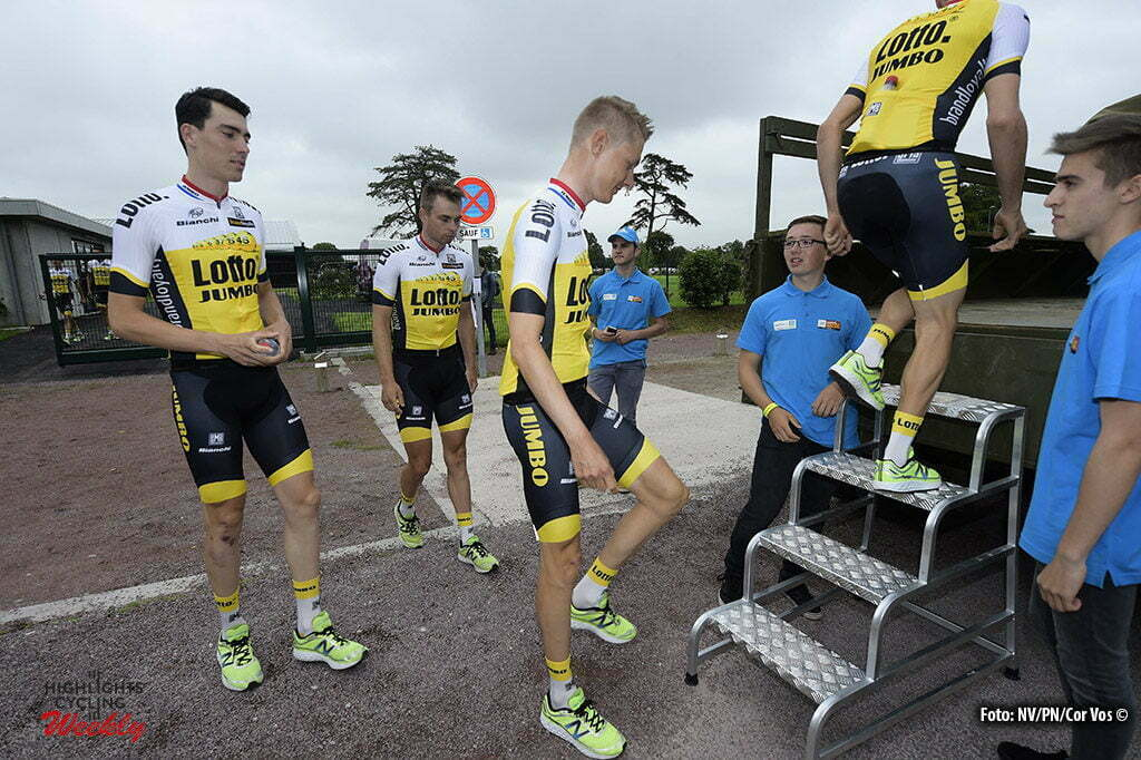 Saint-Mere-Eglise - France - wielrennen - cycling - radsport - cyclisme - Wilco Kelderman (Netherlands / Team LottoNL - Jumbo) - Timo Roosen (Netherlands / Team LottoNL - Jumbo) pictured during the official team presentation prior the 2016 Tour de France, on June 30, 2016 in Saint-Mere-Eglise - France - photo NV/PN/Cor Vos © 2016