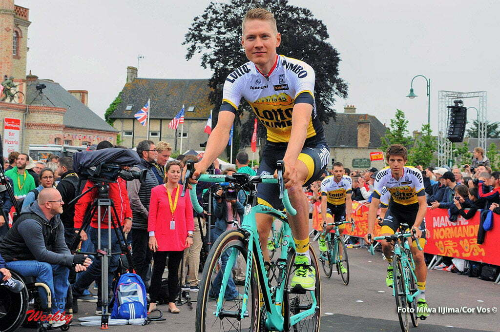 Saint-Mere-Eglise - France - wielrennen - cycling - radsport - cyclisme - Wilco Kelderman (Netherlands / Team LottoNL - Jumbo) - George Bennett (N. Seeland / Team LottoNL - Jumbo) pictured during the official team presentation prior the 2016 Tour de France, on June 30, 2016 in Saint-Mere-Eglise - France - photo Miwa IIjima/Cor Vos © 2016
