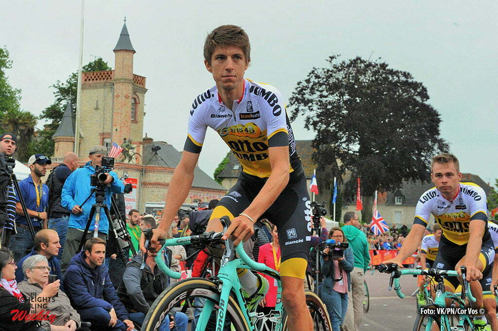 Saint-Mere-Eglise - France - wielrennen - cycling - radsport - cyclisme - George Bennett (N. Seeland / Team LottoNL - Jumbo) - Bertjan Lindeman (Netherlands / Team LottoNL - Jumbo) pictured during the official team presentation prior the 2016 Tour de France, on June 30, 2016 in Saint-Mere-Eglise - France - photo Miwa IIjima/Cor Vos © 2016