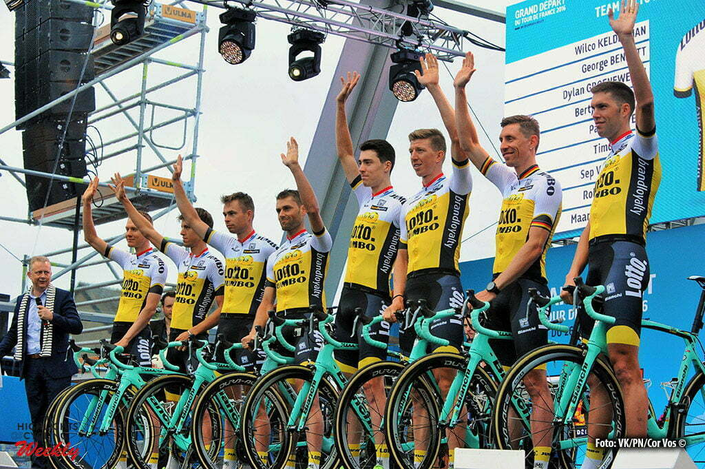 Saint-Mere-Eglise - France - wielrennen - cycling - radsport - cyclisme - Team LottoNL - Jumbo pictured during the official team presentation prior the 2016 Tour de France, on June 30, 2016 in Saint-Mere-Eglise - France - photo Miwa IIjima/Cor Vos © 2016