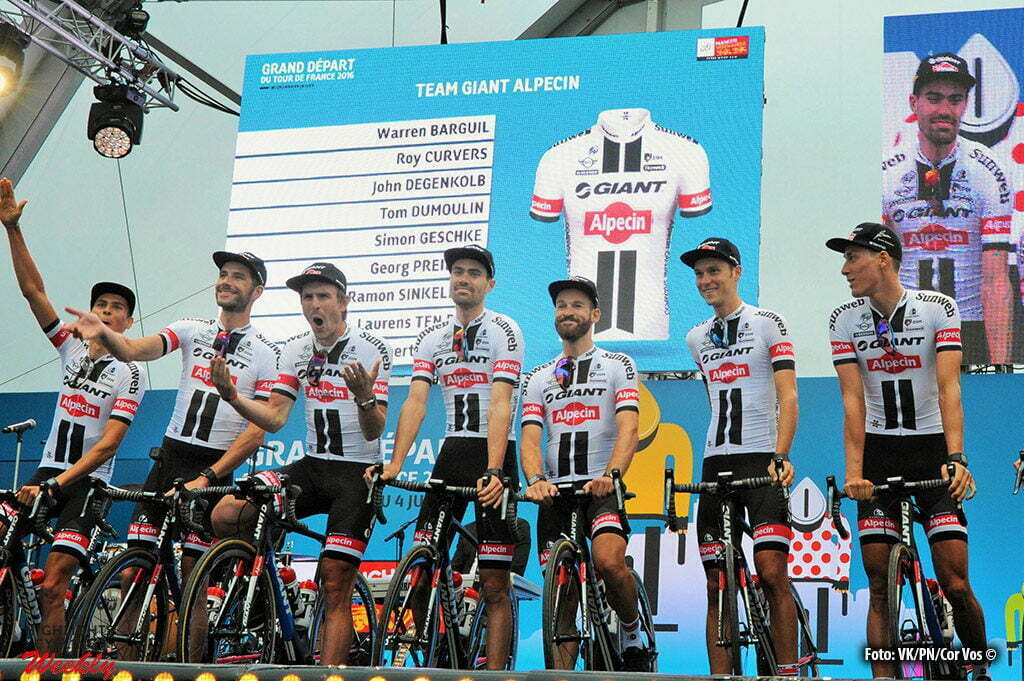 Saint-Mere-Eglise - France - wielrennen - cycling - radsport - cyclisme - team Giant - Alpecin pictured during the official team presentation prior the 2016 Tour de France, on June 30, 2016 in Saint-Mere-Eglise - France - photo Miwa IIjima/Cor Vos © 2016