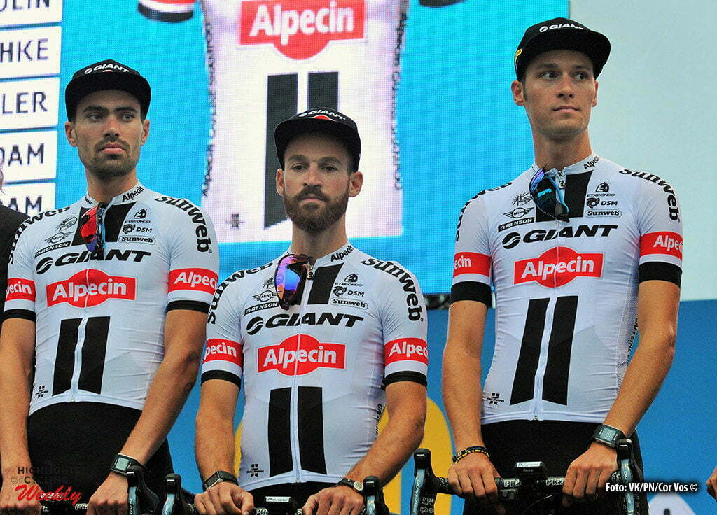 Saint-Mere-Eglise - France - wielrennen - cycling - radsport - cyclisme - Tom Dumoulin (Netherlands / Team Giant - Alpecin) - Simon Geschke (Germany / Team Giant - Alpecin) - Georg Preidler (Austria / Team Giant - Alpecin) pictured during the official team presentation prior the 2016 Tour de France, on June 30, 2016 in Saint-Mere-Eglise - France - photo Miwa IIjima/Cor Vos © 2016