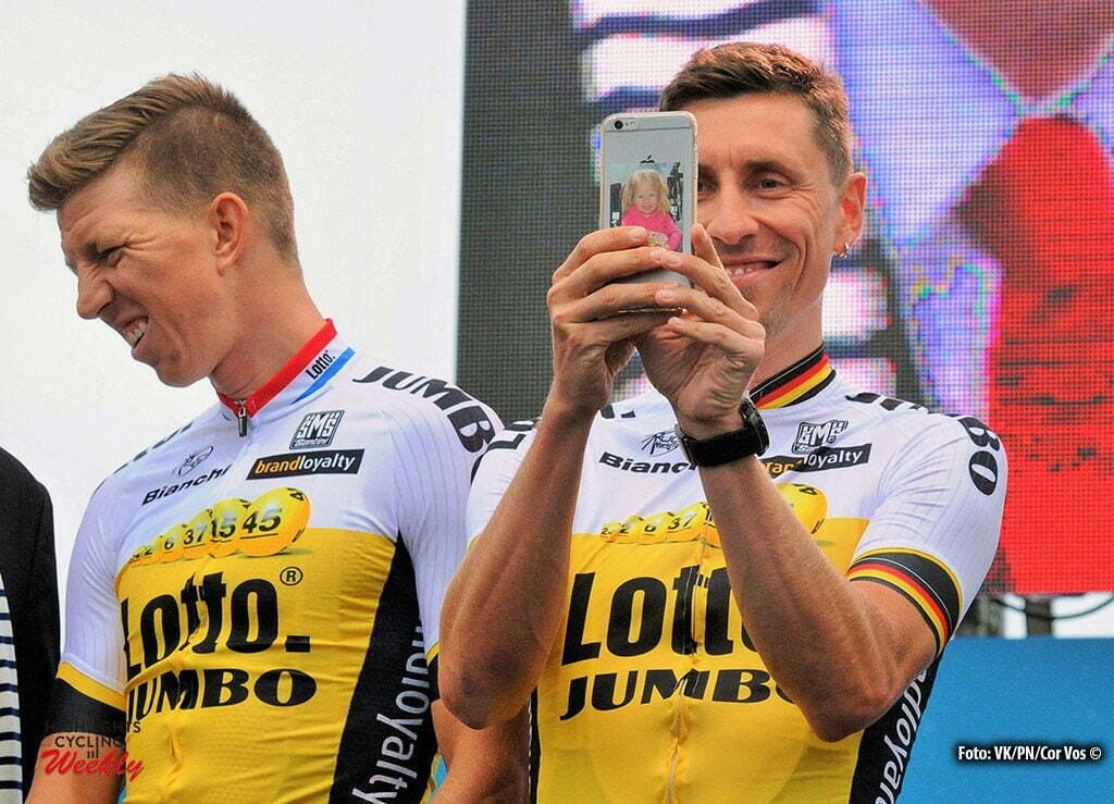 Saint-Mere-Eglise - France - wielrennen - cycling - radsport - cyclisme - Sep Vanmarcke (Belgium / Team LottoNL - Jumbo) - Robert Wagner (Germany / Team LottoNL - Jumbo) pictured during the official team presentation prior the 2016 Tour de France, on June 30, 2016 in Saint-Mere-Eglise - France - photo Miwa IIjima/Cor Vos © 2016