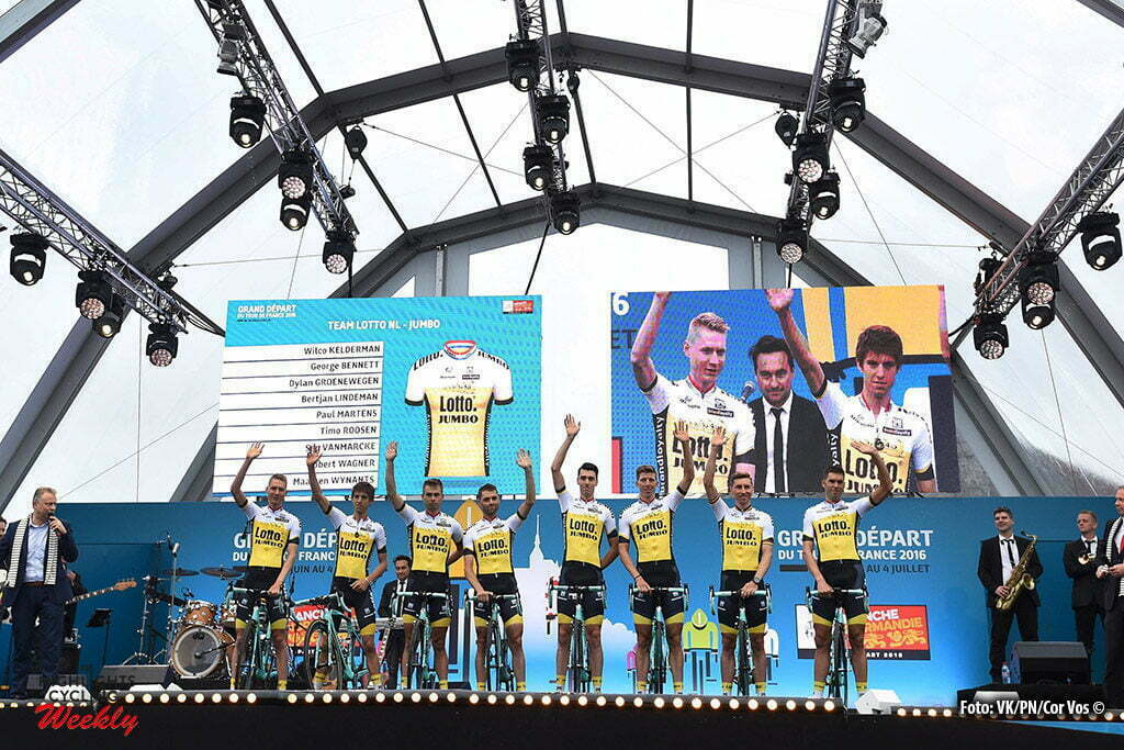 Saint-Mere-Eglise - France - wielrennen - cycling - radsport - cyclisme - team LottoNL - Jumbo pictured during the official team presentation prior the 2016 Tour de France, on June 30, 2016 in Saint-Mere-Eglise - France - photo VK/PN/Cor Vos © 2016