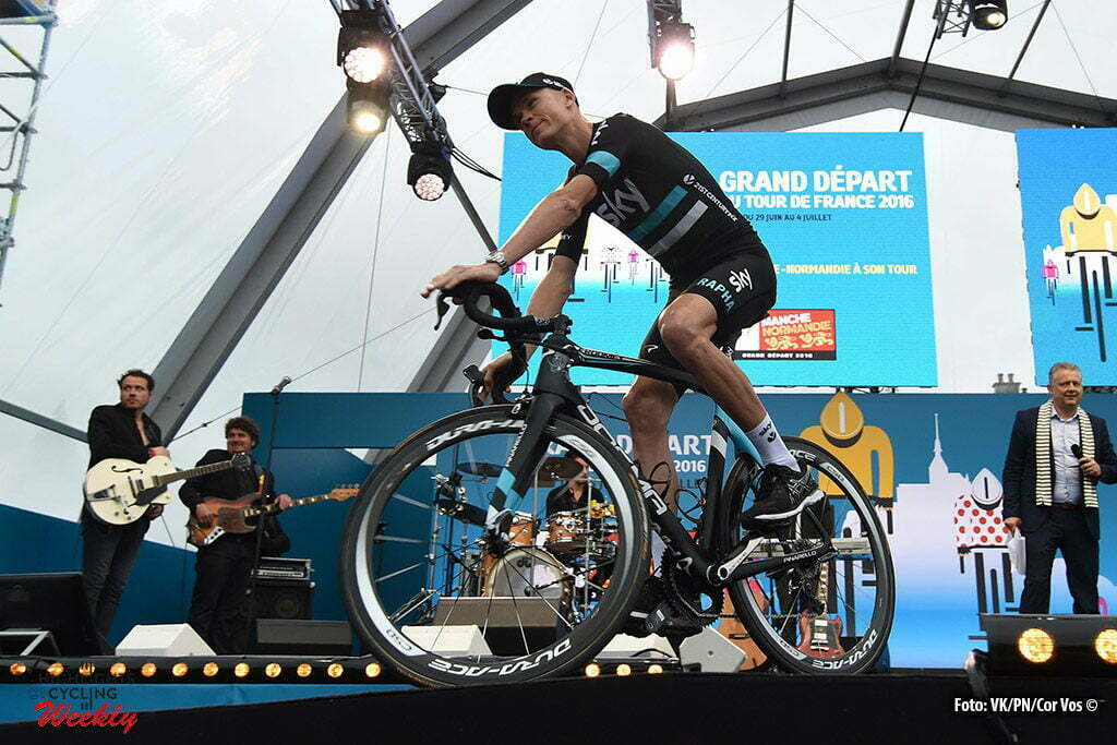 Saint-Mere-Eglise - France - wielrennen - cycling - radsport - cyclisme - Froome Christopher - Chris (GBR / Team Sky) pictured during the official team presentation prior the 2016 Tour de France, on June 30, 2016 in Saint-Mere-Eglise - France - photo VK/PN/Cor Vos © 2016
