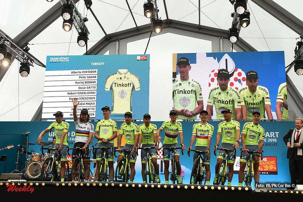 Saint-Mere-Eglise - France - wielrennen - cycling - radsport - cyclisme - Team Tinkoff pictured during the official team presentation prior the 2016 Tour de France, on June 30, 2016 in Saint-Mere-Eglise - France - photo VK/PN/Cor Vos © 2016