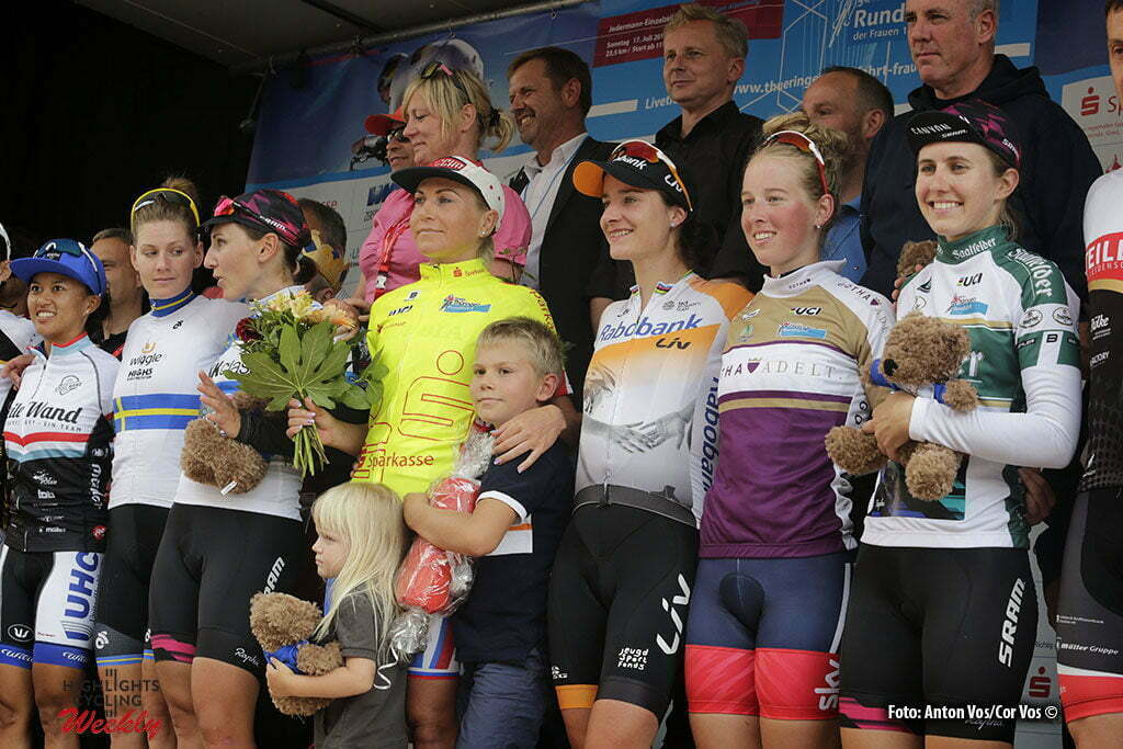 Altenburg - Germany - wielrennen - cycling - radsport - cyclisme - Rivera Coryn (USA / UnitedHealthCare) - Johansson Emma (Sweden / Wiggle High5) Brennauer Lisa (Germany / Canyon Sram Racing) Zabelinskaya Olga (Be Pink) Vos Marianne (Netherlands / Rabobank Liv Women Cycling Team) Barnes Alice (GBR) Ryan Alexis (USA / Canyon Sram Racing) pictured during stage 3 of the Thuringen - Rundfahrt for women Rund um Altenburg - photo Anton Vos/Cor Vos © 2016