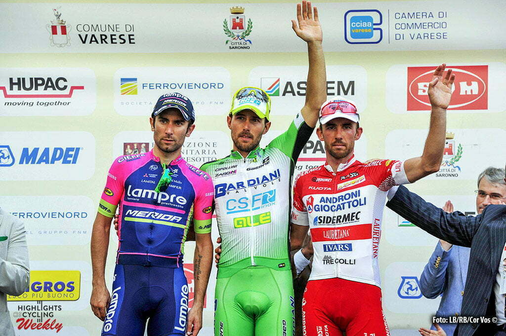 Varese - Italy - wielrennen - cycling - radsport - cyclisme - Sonny Colbrelli (Bardiani - CSF) - Diego Ulissi (Lampre - Merida) - Francesco Gavazzi (Androni - Sidermec) pictured duringTre Valli Varesine 2016 - 96th edition - Saronno - Varese 192,9 km - 27/09/2016 - photo Cor Vos © 2016
