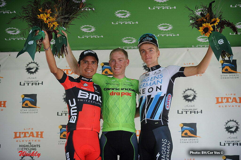 Snowbird Ski & Summer Resort - USA - wielrennen - cycling - radsport - cyclisme - Atapuma Hurtado Darwin (Columbia / BMC Racing Team) - Andrew Talansky (USA / Cannondale Drapac Pro Cycling Team) and Adrien Costa (Axeon-Hagens Berman Team) pictured during The Larry H.Miller Tour of Utah 2016 stage 6 from Snowbasin Resort - Snowbird Ski & Summer Resort - photo Brian Hodes/Cor Vos © 2016***USA OUT***