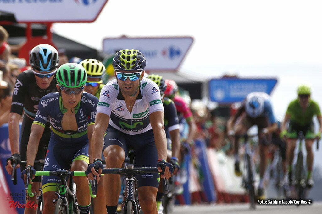 San Andres de Teixido - Spain - wielrennen - cycling - radsport - cyclisme - Froome Christopher - Chris (GBR / Team Sky), Chaves Rubio Jhoan Esteban (Columbia / Team Orica Greenedge), Valverde Belmonte Alejandro (Spain / Team Movistar) pictured during stage 4 from Betanzos to San Andres de Teixido - Vuelta Espana 2016 - photo Sabine Jacob/Cor Vos © 2016