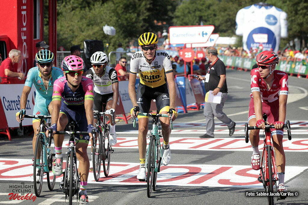 Luintra. Ribera Sacra - Spain - wielrennen - cycling - radsport - cyclisme - Cataldo Dario (Italie / Team Astana) - Gesink Robert (Netherlands / Team LottoNL - Jumbo) pictured during stage 6 from Monforte de Lemos to Luintra. Ribera Sacra - Vuelta Espana 2016 - photo Sabine Jacob/Cor Vos © 2016