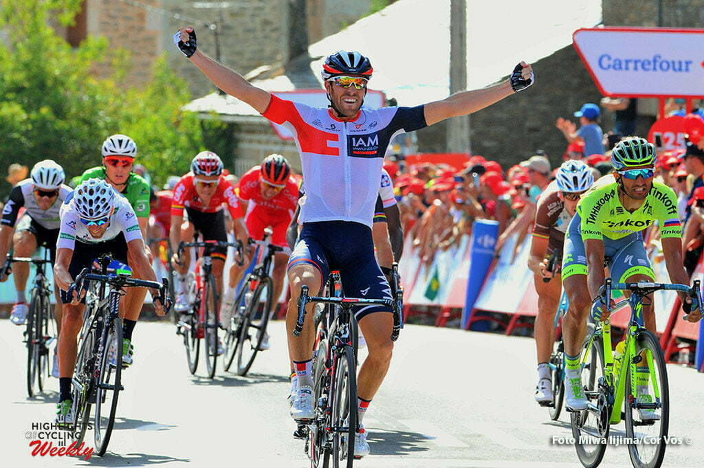 Puebla de Sanabria - Spain - wielrennen - cycling - radsport - cyclisme - Vangenechten Jonas (Belgium / IAM Cycling) - Bennati Daniele (Italie / Team Tinkoff - Tinkov) - Valverde Belmonte Alejandro (Spain / Team Movistar) pictured during stage 7 from Maceda to Puebla de Sanabria - Vuelta Espana 2016 - photo Miwa iijima/Cor Vos © 2016