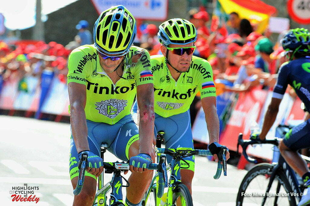 Puebla de Sanabria - Spain - wielrennen - cycling - radsport - cyclisme - Alberto Contador Velasco (Spain / Team Tinkoff - Tinkov) arrived with his team mate Trofimov Yury (Russia / Team Tinkoff - Tinkov) . Contador crashed in the last 600 meters of the race pictured during stage 7 from Maceda to Puebla de Sanabria - Vuelta Espana 2016 - photo Miwa iijima/Cor Vos © 2016