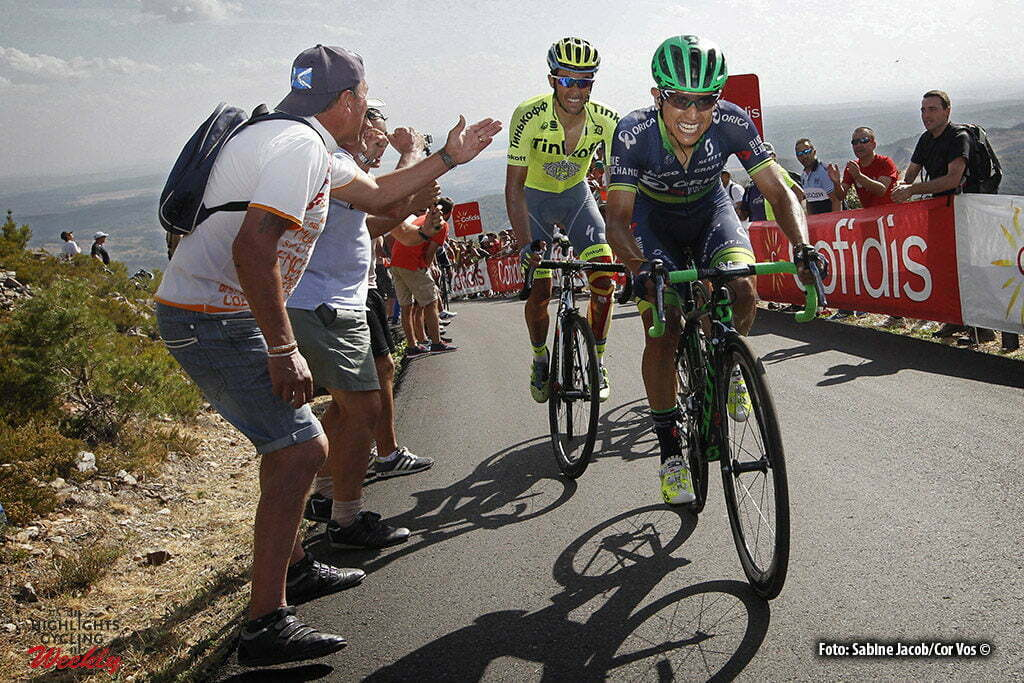 La Camperona. Valle de Sabero - Spain - wielrennen - cycling - radsport - cyclisme - Chaves Rubio Jhoan Esteban (Columbia / Team Orica Greenedge), Contador Velasco Alberto (Spain / Team Tinkoff - Tinkov) pictured during stage 8 from Villalpando to La Camperona. Valle de Sabero - Vuelta Espana 2016 - photo Sabine Jacob/Cor Vos © 2016