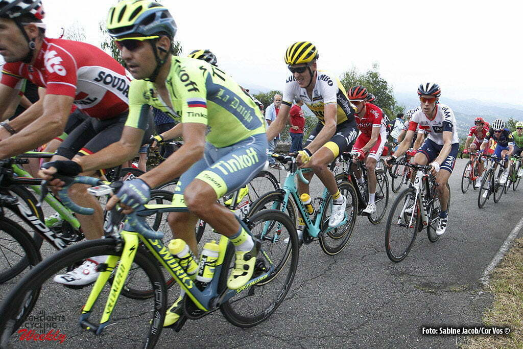 Oviedo. Alto del Naranco - Spain - wielrennen - cycling - radsport - cyclisme - Jesus Hernandez Blazquez (Spain / Team Tinkoff - Tinkov) - Robert Gesink (Netherlands / Team LottoNL - Jumbo) pictured during stage 9 from Cistierna - Oviedo. Alto del Naranco - Vuelta Espana 2016 - photo Sabine Jacob/Cor Vos © 2016