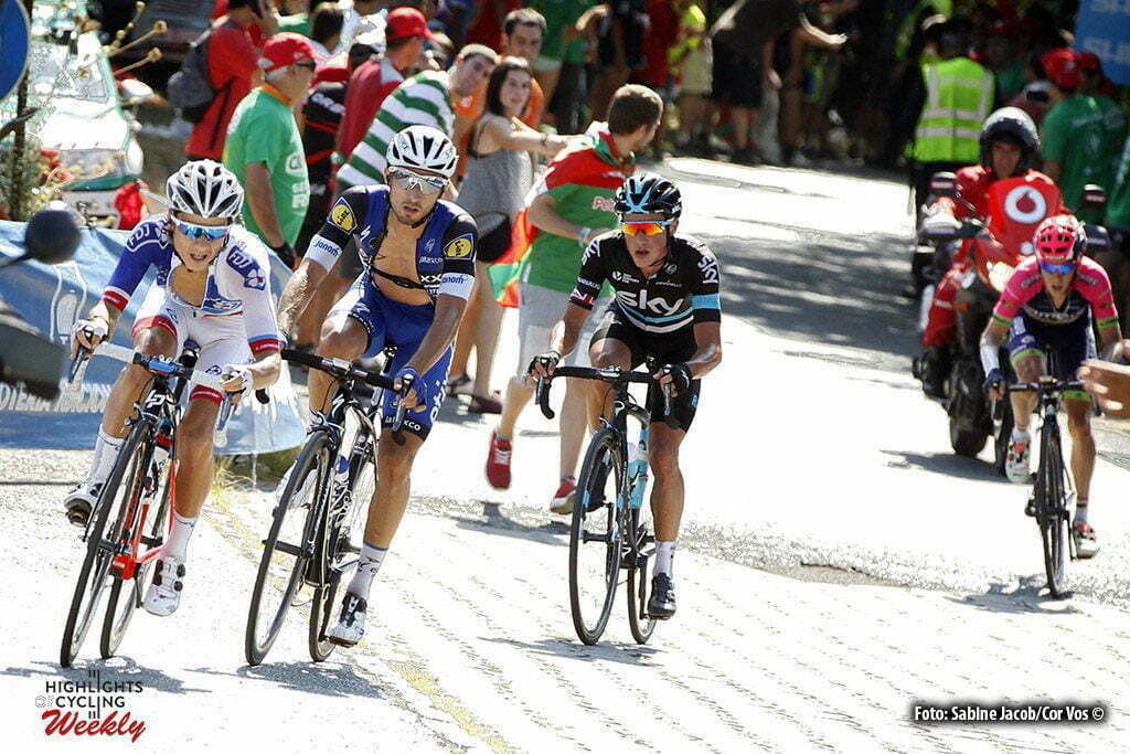 Bilbao - Spain - wielrennen - cycling - radsport - cyclisme - Elissonde Kenny (Suisse / Team FDJ), Brambilla Gianluca (Italie / Team Etixx - Quick Step), Kennaugh Peter (GBR / Team Sky) pictured during stage 12 from Los Corrales de Buelna to Bilbao - Vuelta Espana 2016 - photo Sabine Jacob/Cor Vos © 2016