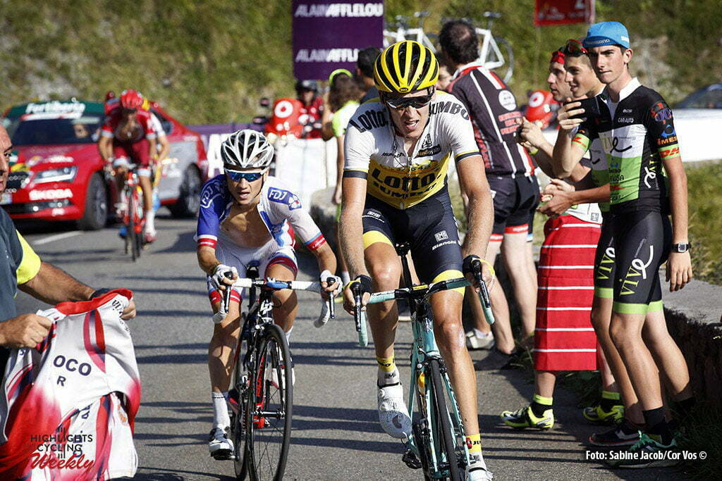 Aubisque - Gourette - Spain - wielrennen - cycling - radsport - cyclisme - Robert Gesink (Netherlands / Team LottoNL - Jumbo) - Kenny Elissonde (Suisse / Team FDJ) pictured during stage 14 from Urdax-Dantxarinea to Aubisque - Gourette - Vuelta Espana 2016 - photo Sabine Jacob/Cor Vos © 2016