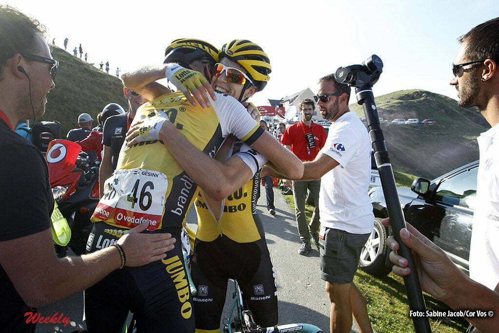 Aubisque - Gourette - Spain - wielrennen - cycling - radsport - cyclisme - Robert Gesink (Netherlands / Team LottoNL - Jumbo) - George Bennett (N. Seeland / Team LottoNL - Jumbo) pictured during stage 14 from Urdax-Dantxarinea to Aubisque - Gourette - Vuelta Espana 2016 - photo Sabine Jacob/Cor Vos © 2016