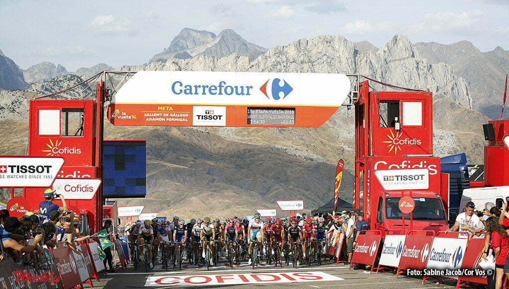 Sallent de Gallego. Aramon Formigal - Spain - wielrennen - cycling - radsport - cyclisme - 93 riders over the time, but remain in the race pictured during stage 15 from Sabinanigo to Sallent de Gallego. Aramon Formigal - Vuelta Espana 2016 - photo Sabine Jacob/Cor Vos © 2016