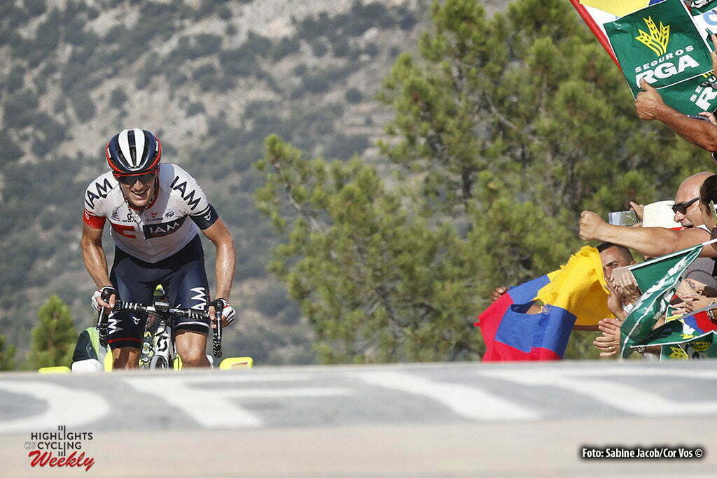 Llucena. Camins del Penyagolosa - Spain - wielrennen - cycling - radsport - cyclisme - Mathias Frank (Suisse / IAM Cycling) pictured during stage 17 from Castellon to Llucena. Camins del Penyagolosa - Vuelta Espana 2016 - photo Sabine Jacob/Cor Vos © 2016