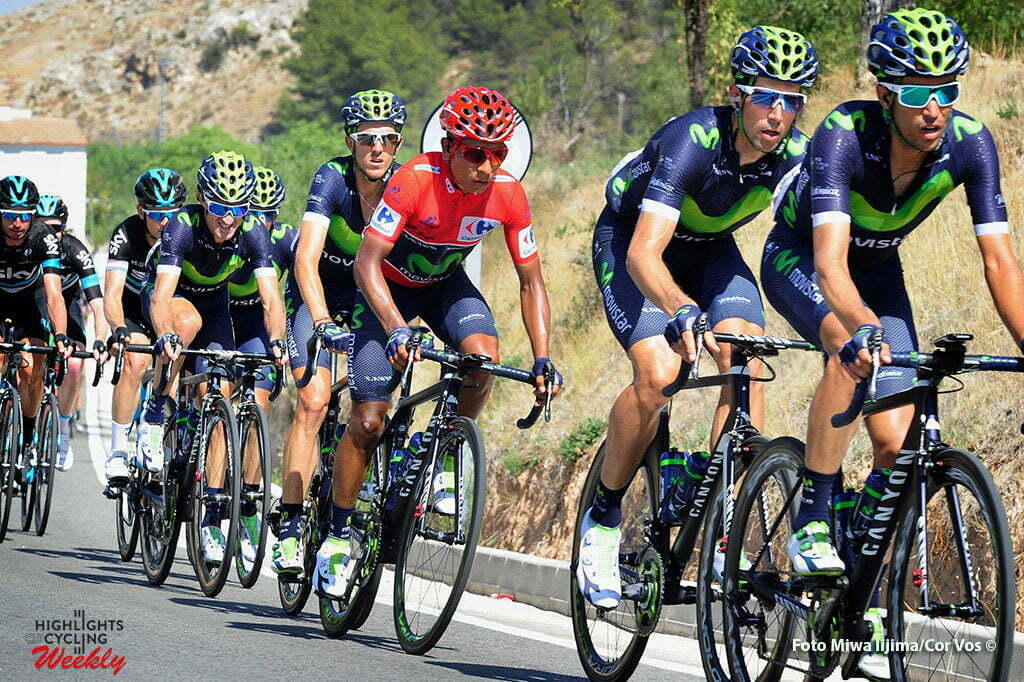 Gandía - Spain - wielrennen - cycling - radsport - cyclisme - Nairo Alexander Quintana Rojas (Columbia / Team Movistar) and teammates pictured during stage 18 from Requena to Gandía - Vuelta Espana 2016 - photo Miwa iijima/Cor Vos © 2016
