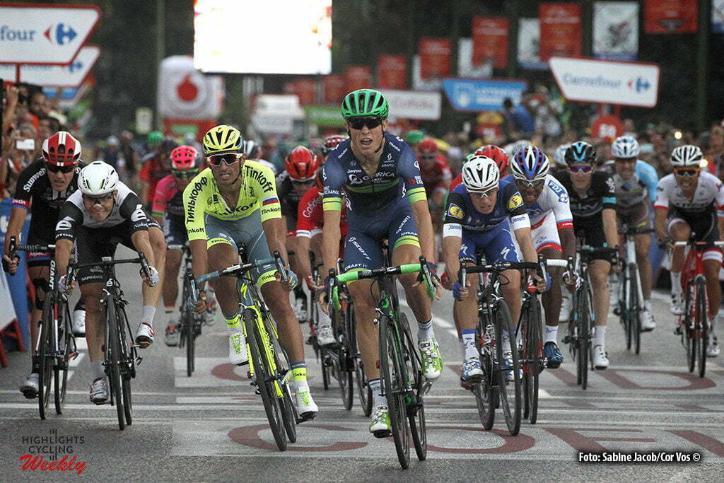 Madrid - Spain - wielrennen - cycling - radsport - cyclisme - Nielsen Magnus Cort (Danmark / Team Orica Bike Exchange) - Bennati Daniele (Italie / Team Tinkoff - Tinkov) pictured during stage 21 from Las Rozas to Madrid - Vuelta Espana 2016 - photo Sabine Jacob/Cor Vos © 2016