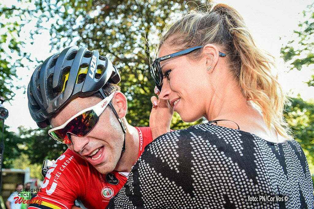 NAMUR, BELGIUM - SEPTEMBER 14 : Tony Gallopin wins the GP Wallonie and is congratulated by his wife Marion Rousse on the Citadel of Namur in Namur, Belgium, 14/092016 (Photo by gregory van gansen/ Photonews)