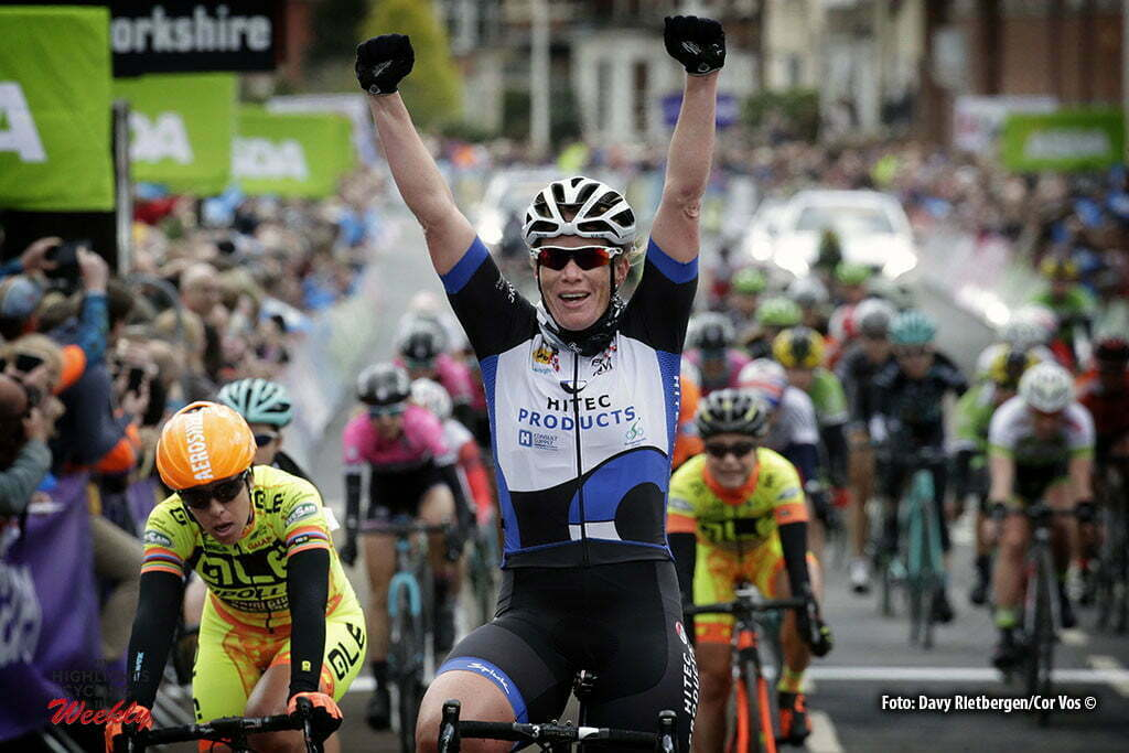Doncaster - Great Britain - wielrennen - cycling - radsport - cyclisme - Wild Kirsten (Netherlands / Hitec Products) - Garner Lucy (Great Britain / Wiggle High5) - Floortje Mackaij (Netherlands / Liv - Plantur) pictured during the Tour of Yorkshire - from Otley to Doncaster for women in Yorkshire, England - photo Davy Rietbergen/Cor Vos © 2016