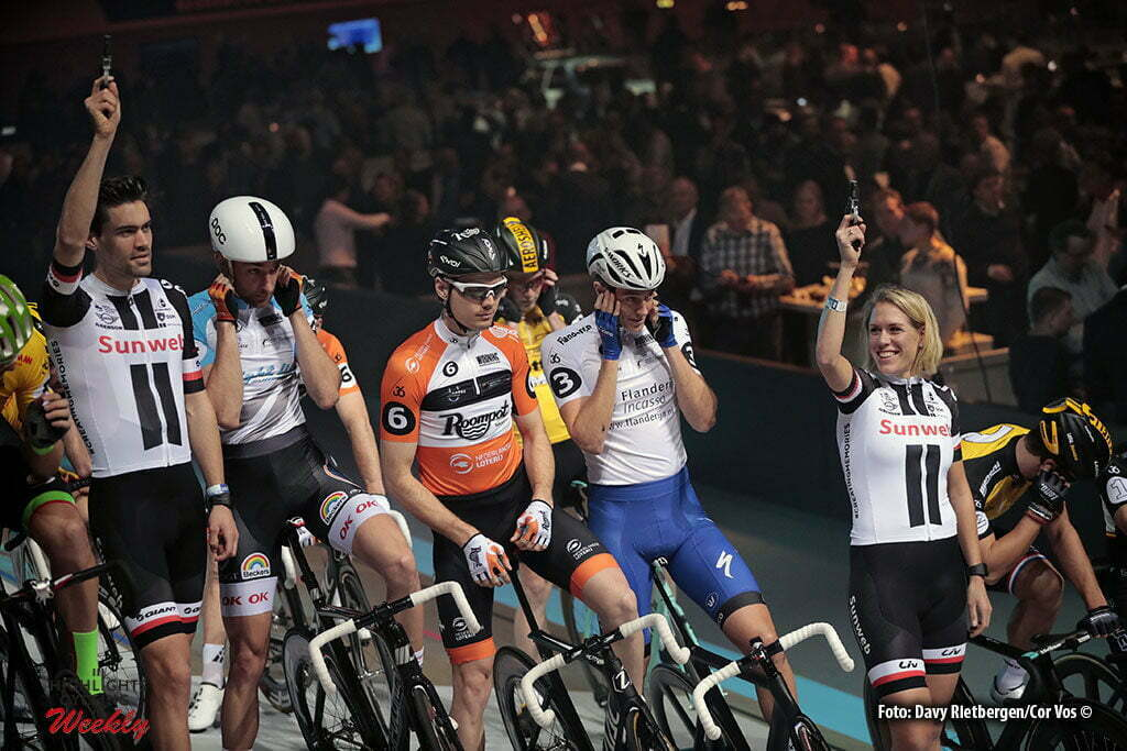 Rotterdam - Netherlands - wielrennen - cycling - cyclisme - radsport - baan - track - piste - Tom Dumoulin and Ellen van Dijk at the start of the Sixdays of Rotterdam. Jesper Morkov - Pim Ligthart and Niki Terpstra pictured during the Zesdaagse 2017 in Ahoy - Rotterdam - foto Carla Vos/Cor Vos ©2017