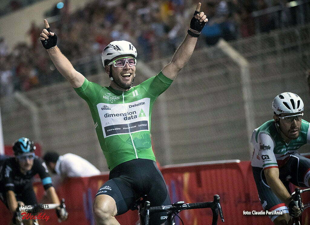 "UK rider Mark Cavendish of Dimension Data Team (C) wearing Green Jersey on the finish line of the 143 km ""Yas Island"" Fourth stage of Abu Dhabi cycling race in Yas Marina F1 Circuit, UAE, 23 October 2016. ANSA/LUCA ZENNARO"