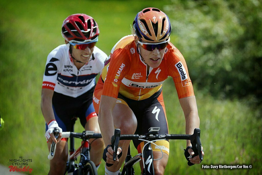 Berg en Terblijt - Netherlands - wielrennen - cycling - radsport - cyclisme - Van Dijk Ellen (Netherlands / Boels Dolmans Cycling Team) - Moolman-Pasio Ashleigh (South Africa / Cervelo Bigla) pictured during the Boels Hills Classic 2016 from Sittard to Berg en Terblijt - women's cyclingrace - photo Davy Rietbergen//Cor Vos © 2015